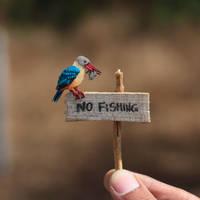Stork-billed kingfisher - Paper cut birds by NVillustration