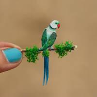 Malabar Parakeet  - Paper cut birds by NVillustration