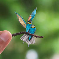 European Bee-eater - Paper cut birds by NVillustration