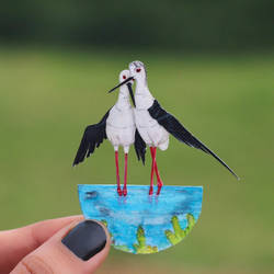 Black-winged Stilt - Paper cut birds by NVillustration