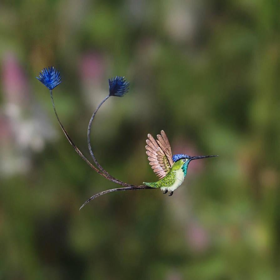 Spatula tailed hummingbird - Paper cut birds by NVillustration
