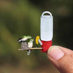 Humminbirds having nectar - Paper cut birds by NVillustration
