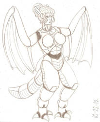 Wyverna sketch by RocMegamanX