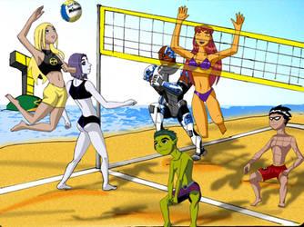 teen titans beach volleyball by gsomuano