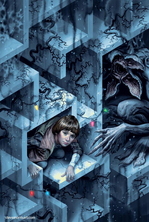Stranger Things issue #2 variant cover by StevenJamesMorris
