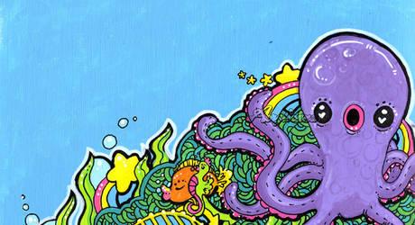 Purple Octopus Painting by marywinkler
