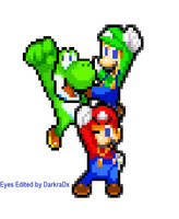 Mario Luigi Yoshi with blue eyes sprites by CristianDarkraDx2496