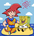 SSJ God Goku and God SpongeBob by CristianDarkraDx2496