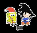 SpongeBob and Goku Chibi playing Switch by CristianDarkraDx2496