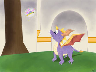 Spyro the Dragon and Sparx the Dragonfly by gissele365
