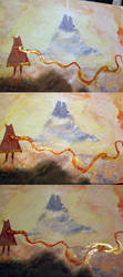 journey (game) - gold nail polish + gouache by arumise