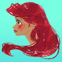 Disney Ariel Profile Portrait | Video Tutorial by NovellineArt