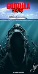 Godzilla - jaws poster by Birmelini