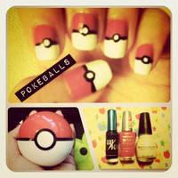 Pokeball Nails by ting--ting