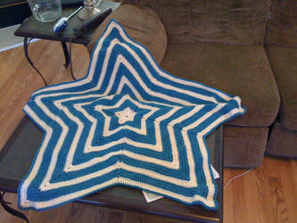 Blue and White Star Blanket by LethannAeda