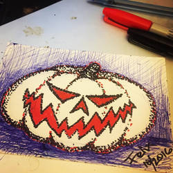 Grinning jack o lantern  by theFATpirate
