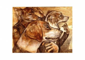 Three Thinkin Dogs by rose-colligan