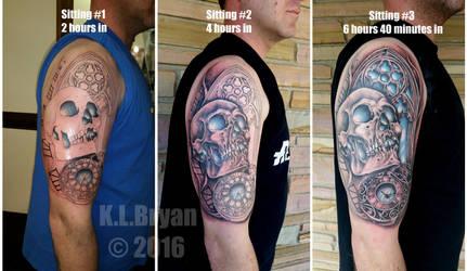 Skull Watch Window half sleeve Tattoo step by step by danktat