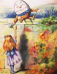 Alice Meeting Humpty Dealer by HillaryWhiteRabbit