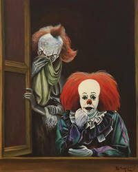 Two Clowns At A Window by HillaryWhiteRabbit