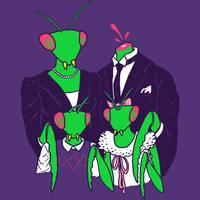 Mantis Family Portrait by HillaryWhiteRabbit