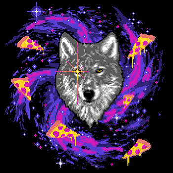 Galactic Pizza Wolf by HillaryWhiteRabbit