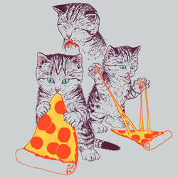 Pizza Kittens by HillaryWhiteRabbit