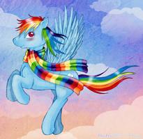 Rd Rainbow Scarf by tinuleaf