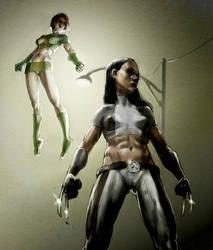 Laura and Rachel Superheroes by Pistaccio