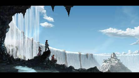 Waterfall castle by Amylrun