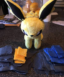 Jolteon Umbreon WIP by Ami-Plushies