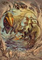 Allosaurio-stegosaurio by OSCARROMER
