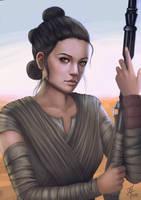 Rey (Star Wars: The Force Awakens) Fanart by thomasukun