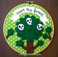 Kodama Save the Forest Embroidery by iggystarpup