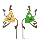 Bill Cipher and Willy (art request) by yugiohwolves
