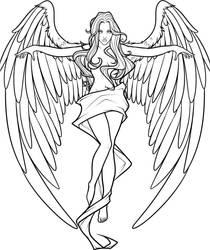 Cross angel Lines- White Background by DawnieDA