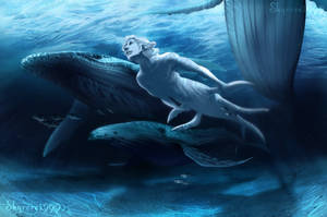 Mermay - Swimming in shallow waters by SkyroreDraws