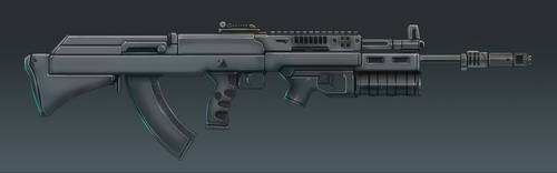 AK-36 Rifle Concept Art (Side View) by Domayv