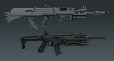 M18 and AK-36 Side View by Domayv