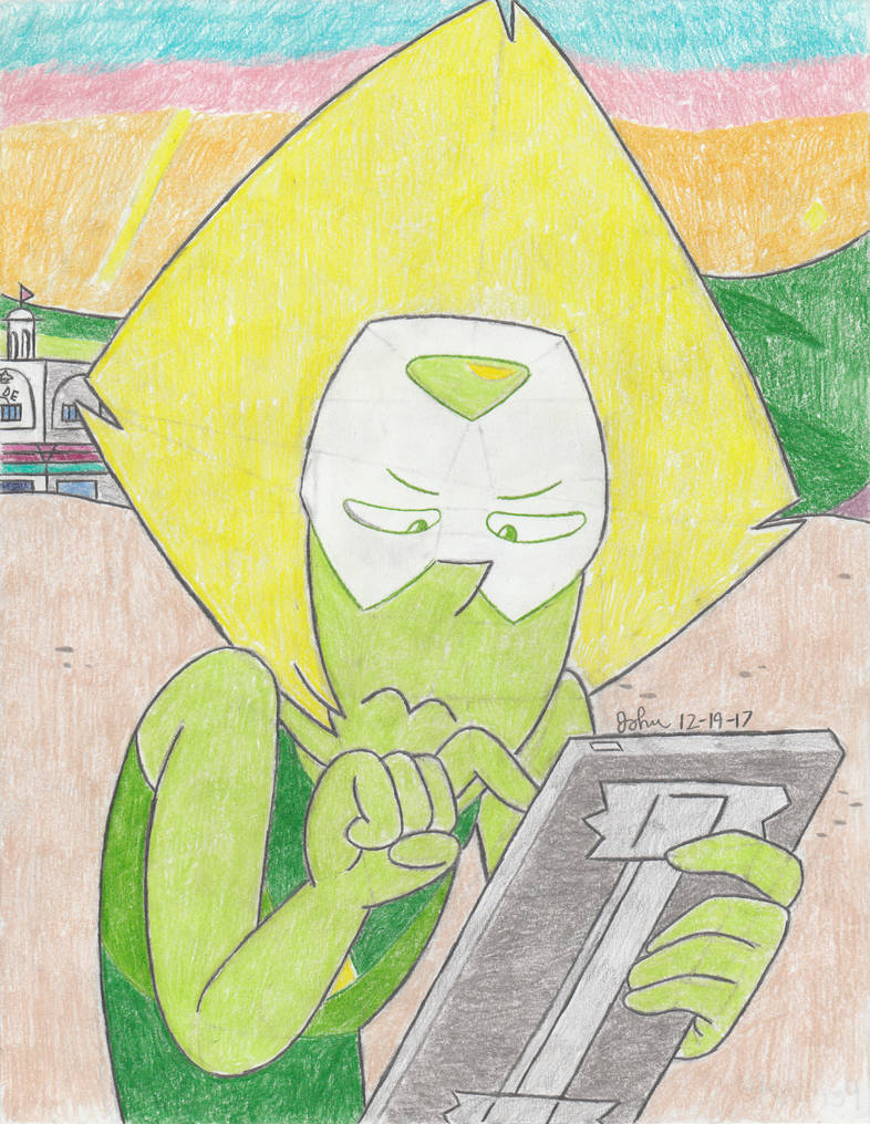Since tonight is the TV premiere of Raising the Barn and Back to the Kindergarten, here's Peridot as drawn by me for the umpteenth time (though the first and likely only time I've done so this year...