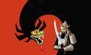 Aku and Samurai Jack by tisbore
