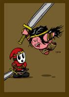 Shyguy vs Kirby by Prickblad