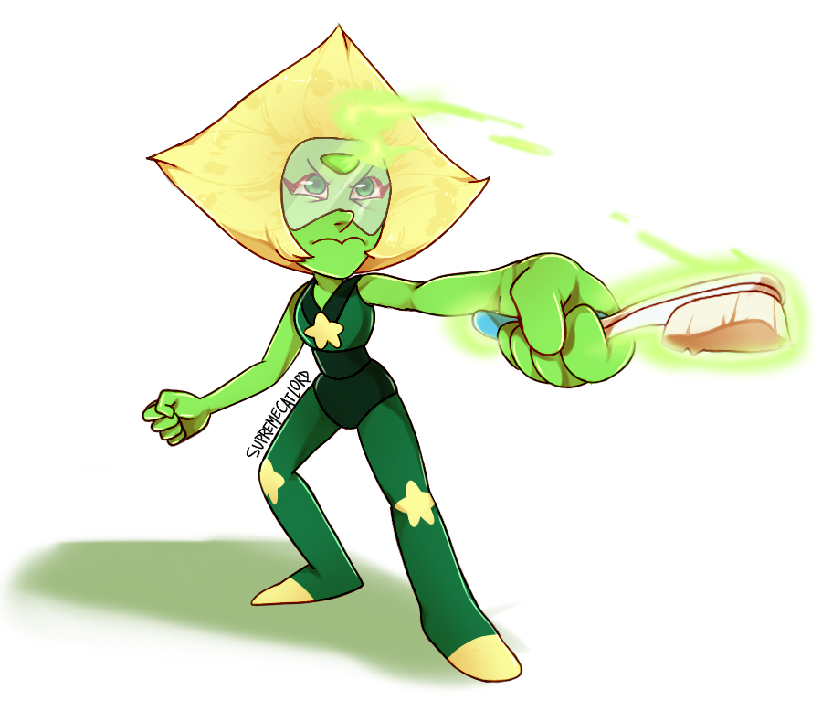 THIS IS AN ACTUAL FOOTAGE FROM FUTURE EPISODES HER WEAPON IS A TOOTHBRUSH ITS #confirmed  Request for the sweet !!!! Peridot belongs to Rebecca Sugar and stuff