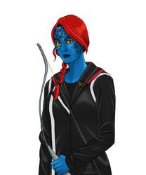 Mystique as Katniss Everdeen by pencilHead7