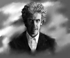 Twelfth Doctor Black and White by Doctorwithaspoon