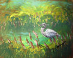 Blue Heron Fishing by juliarita