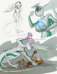 Sketch - Dark Force Bomber by Iguanodragon