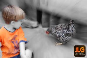 The kid and the hen by jlgartstudio
