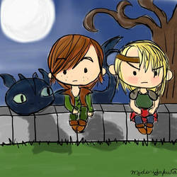 Toothless, Hiccup, and Astrid by sakuramidori