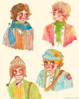 Four Hobbits by merrinou
